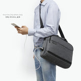 Toppu Mens Messenger Tote Bag with USB Port 15.6'' Laptop Travel Bag 9389