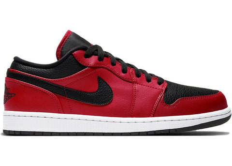 "Air Jordan 1 Low ""Reverse Bred Pebbled Swoosh"""