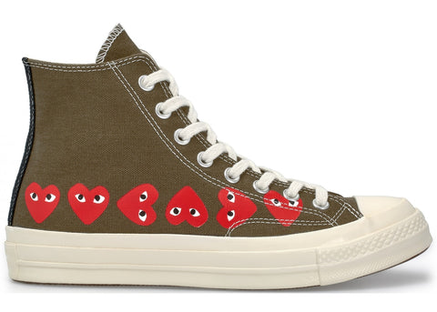 Comme des Garcons Play X Converse Chuck Taylor All-Star 70s Hi - Multi-Heart Khaki