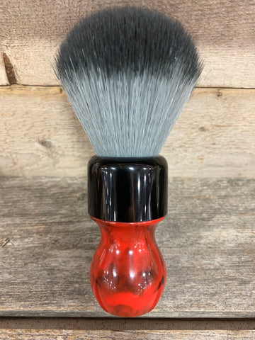Red Resin Shaving Brush with Black/Gray Knot