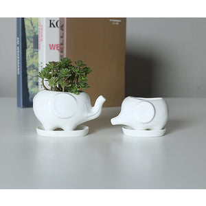 Set of 2 Elephant Ceramic Flower Pots with Trays