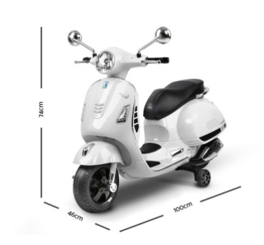 Vespa Electric Scooter >> Kids Ride On White Electric Scooter Rigo Kids Ride On Vespa White