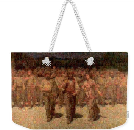Weekender tote bags, hebrew letters photomosaics by Gabriele Levy