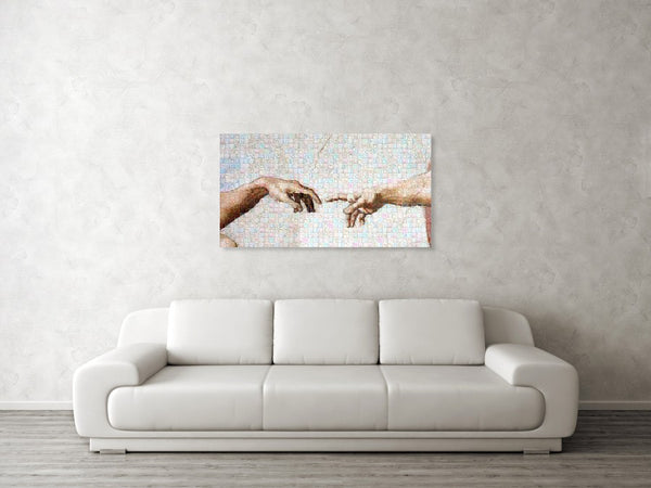 Michelangelo fingers - Canvas Print - ALEFBET - THE HEBREW LETTERS ART GALLERY