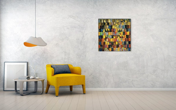 Tribute to Klee - 2 - Canvas Print - ALEFBET - THE HEBREW LETTERS ART GALLERY