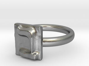 BET silver engagement ring - ALEFBET - THE HEBREW LETTERS ART GALLERY