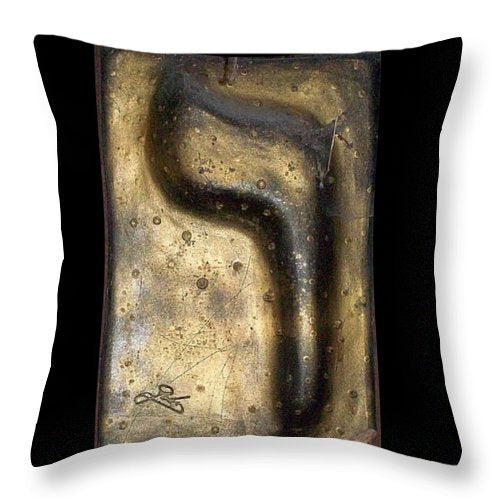 Black and gold VAV - Throw Pillow - ALEFBET - THE HEBREW LETTERS ART GALLERY
