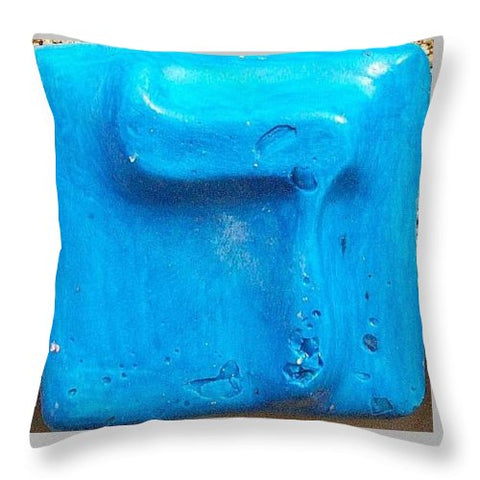 Blue DALET - Throw Pillow - ALEFBET - THE HEBREW LETTERS ART GALLERY