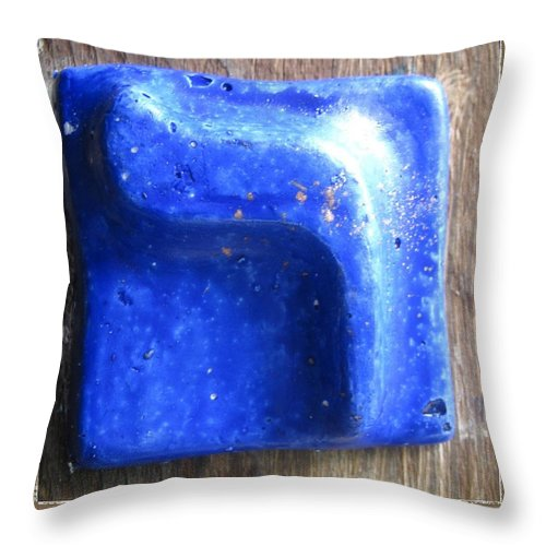 Blue RESH - Throw Pillow - ALEFBET - THE HEBREW LETTERS ART GALLERY