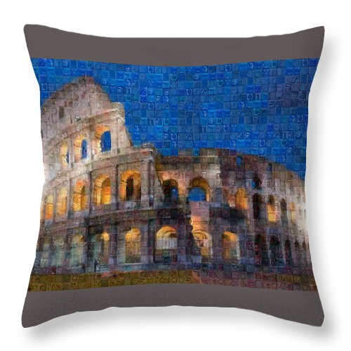 Colosseum at night - Throw Pillow - ALEFBET - THE HEBREW LETTERS ART GALLERY