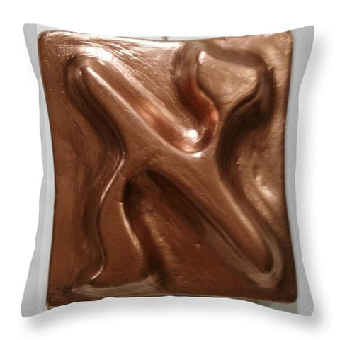 Copper ALEPH - Throw Pillow - ALEFBET - THE HEBREW LETTERS ART GALLERY