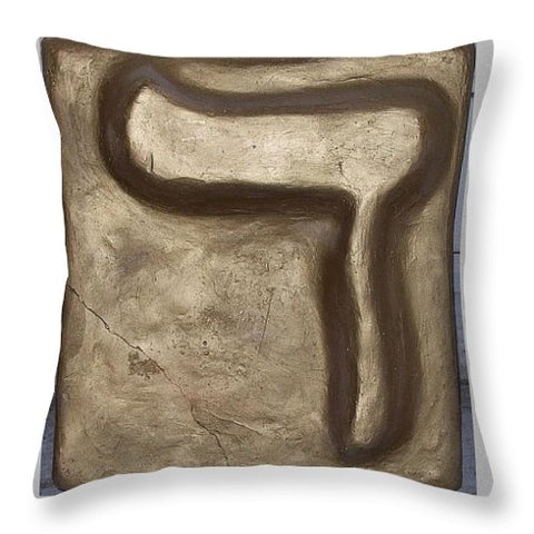 Golden DALET - Throw Pillow - ALEFBET - THE HEBREW LETTERS ART GALLERY
