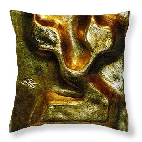 Golden TZADI - Throw Pillow - ALEFBET - THE HEBREW LETTERS ART GALLERY