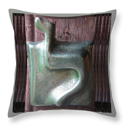 LAMED green - Throw Pillow - ALEFBET - THE HEBREW LETTERS ART GALLERY
