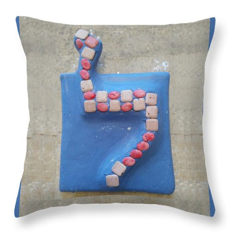 LAMED rosa e blu - Throw Pillow - ALEFBET - THE HEBREW LETTERS ART GALLERY