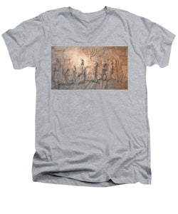 Menorah Titus Arch Rome - Men's V-Neck T-Shirt - ALEFBET - THE HEBREW LETTERS ART GALLERY