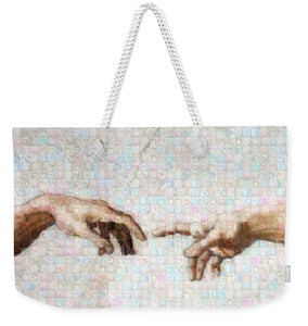 Michelangelo fingers - Weekender Tote Bag - ALEFBET - THE HEBREW LETTERS ART GALLERY