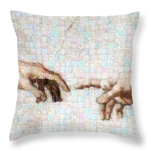Michelangelo fingers - Throw Pillow - ALEFBET - THE HEBREW LETTERS ART GALLERY
