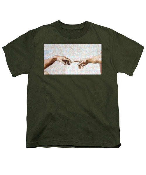 Michelangelo fingers - Youth T-Shirt - ALEFBET - THE HEBREW LETTERS ART GALLERY