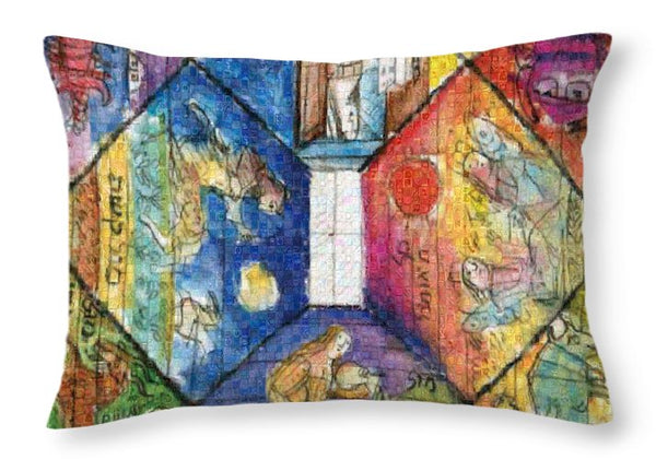 Omaggio a Lele Luzzati - Throw Pillow - ALEFBET - THE HEBREW LETTERS ART GALLERY