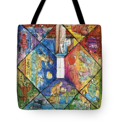Tribute to Lele Luzzati - Square Tote Bag - ALEFBET - THE HEBREW LETTERS ART GALLERY
