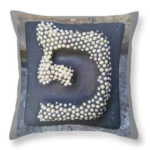 PE, pearls - Throw Pillow - ALEFBET - THE HEBREW LETTERS ART GALLERY