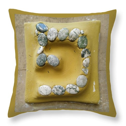 PE, yellow and stones - Throw Pillow - ALEFBET - THE HEBREW LETTERS ART GALLERY