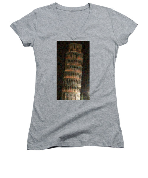 Pisa Tower - Women's V-Neck - ALEFBET - THE HEBREW LETTERS ART GALLERY