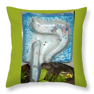 QOF, whit and blue - Throw Pillow - ALEFBET - THE HEBREW LETTERS ART GALLERY