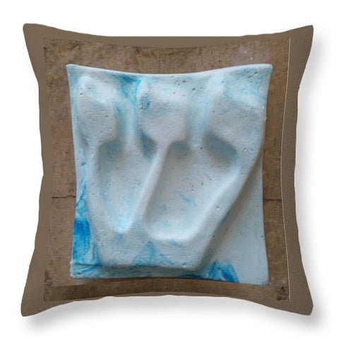 SHIN blue marine - Throw Pillow - ALEFBET - THE HEBREW LETTERS ART GALLERY