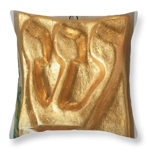 SHIN gold leaves - Throw Pillow - ALEFBET - THE HEBREW LETTERS ART GALLERY