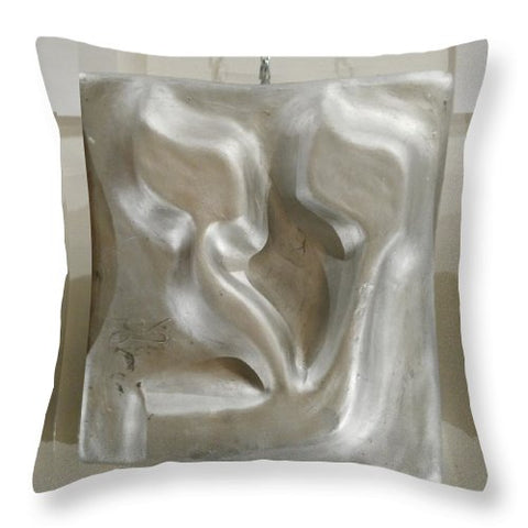 Silver AYN - Throw Pillow - ALEFBET - THE HEBREW LETTERS ART GALLERY