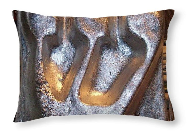 Silver SHIN - Throw Pillow - ALEFBET - THE HEBREW LETTERS ART GALLERY