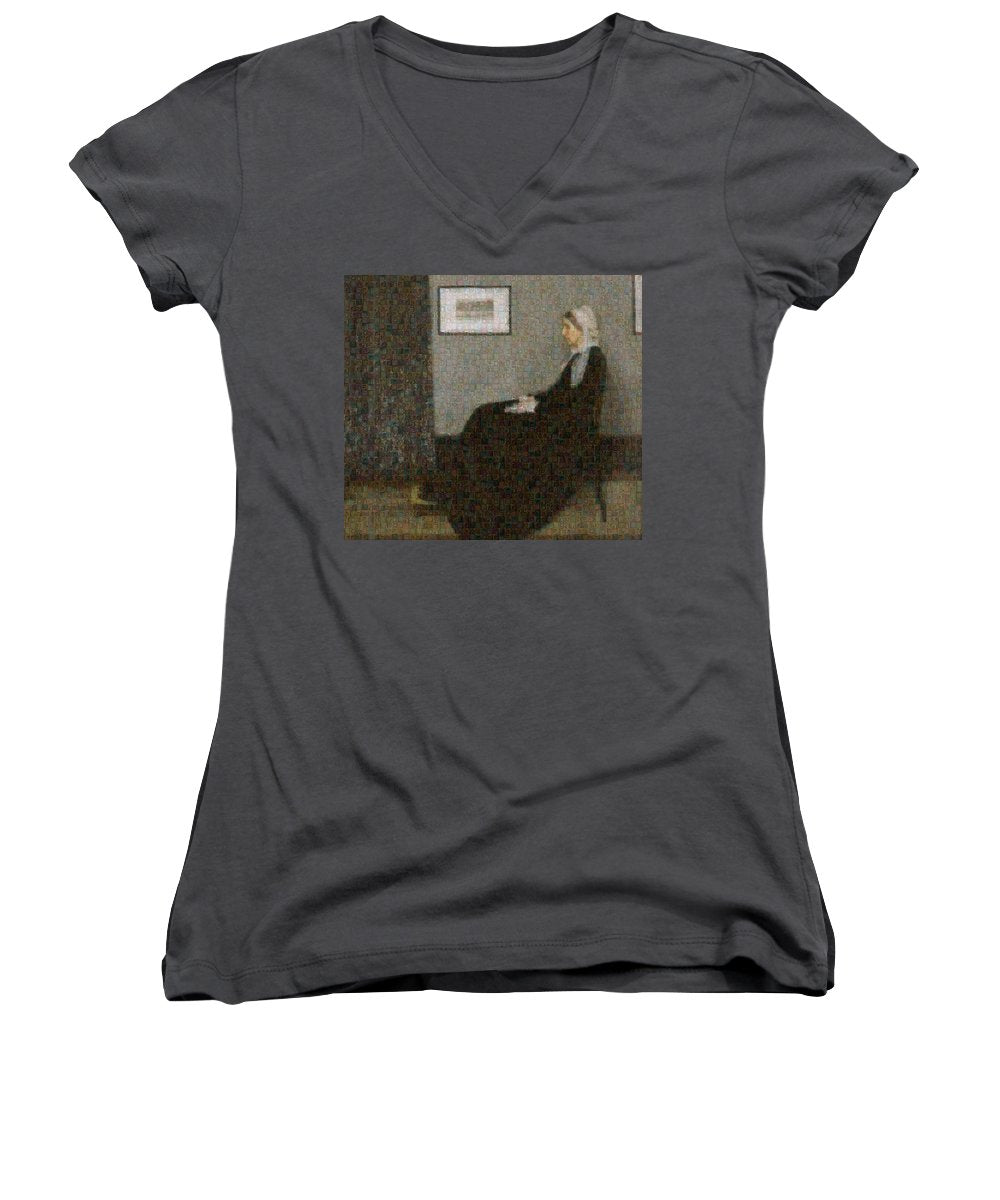 Tribute to Abbott - Women's V-Neck - ALEFBET - THE HEBREW LETTERS ART GALLERY