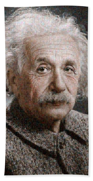 Tribute to Albert Einstein - Beach Towel - ALEFBET - THE HEBREW LETTERS ART GALLERY