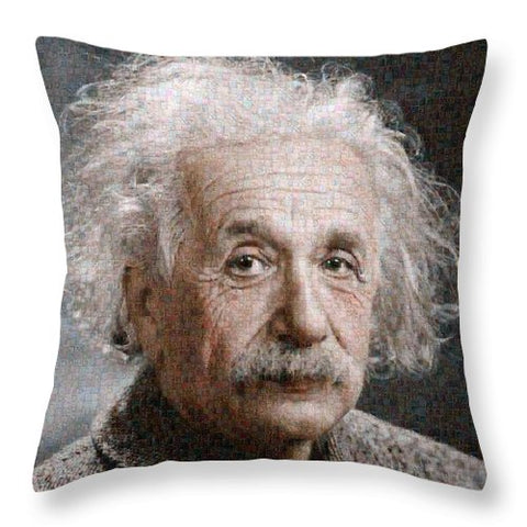 Tribute to Albert Einstein - Throw Pillow - ALEFBET - THE HEBREW LETTERS ART GALLERY