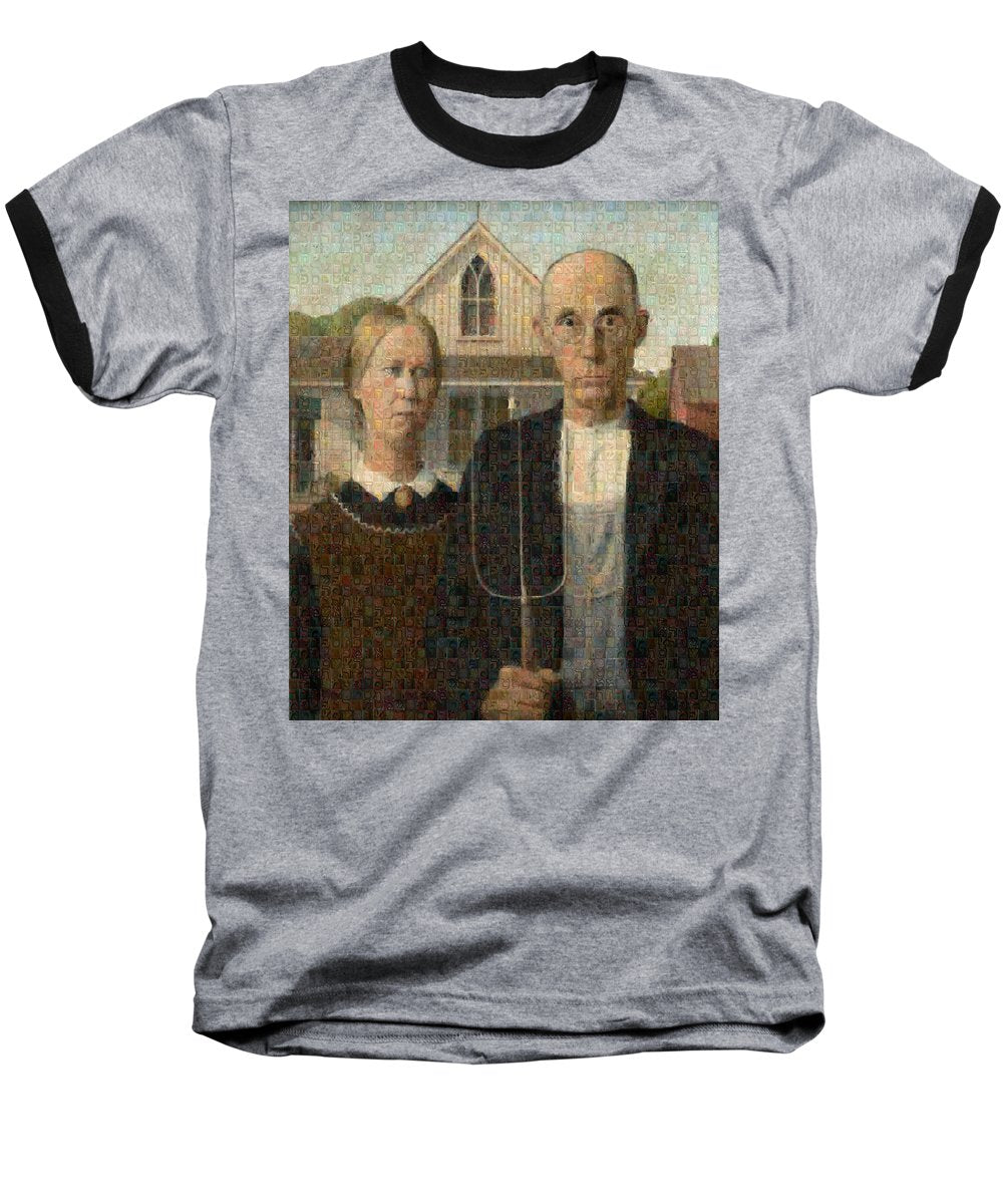 Tribute to American Gothic - Baseball T-Shirt - ALEFBET - THE HEBREW LETTERS ART GALLERY