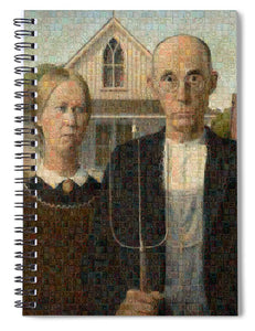Tribute to American Gothic - Spiral Notebook - ALEFBET - THE HEBREW LETTERS ART GALLERY