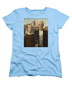 Tribute to American Gothic - Women's T-Shirt (Standard Fit) - ALEFBET - THE HEBREW LETTERS ART GALLERY