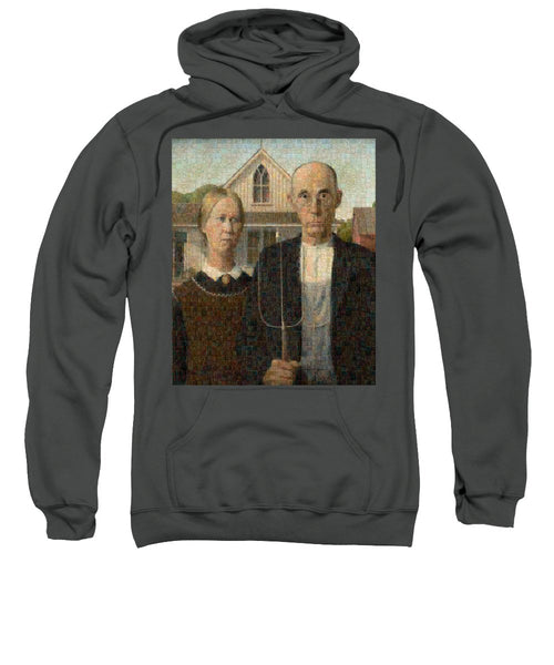 Tribute to American Gothic - Sweatshirt - ALEFBET - THE HEBREW LETTERS ART GALLERY