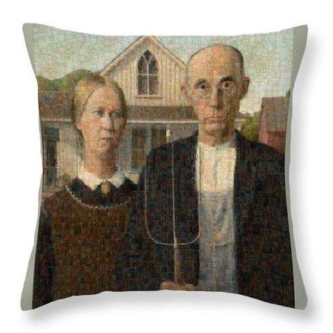 Tribute to American Gothic - Throw Pillow - ALEFBET - THE HEBREW LETTERS ART GALLERY