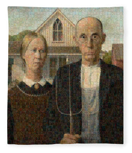Tribute to American Gothic - Blanket - ALEFBET - THE HEBREW LETTERS ART GALLERY