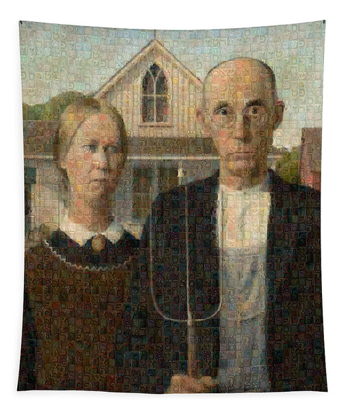 Tribute to American Gothic - Tapestry - ALEFBET - THE HEBREW LETTERS ART GALLERY