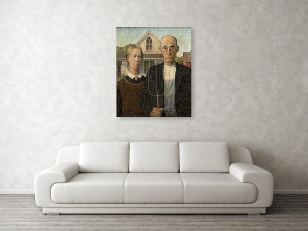 Tribute to American Gothic - Canvas Print - ALEFBET - THE HEBREW LETTERS ART GALLERY