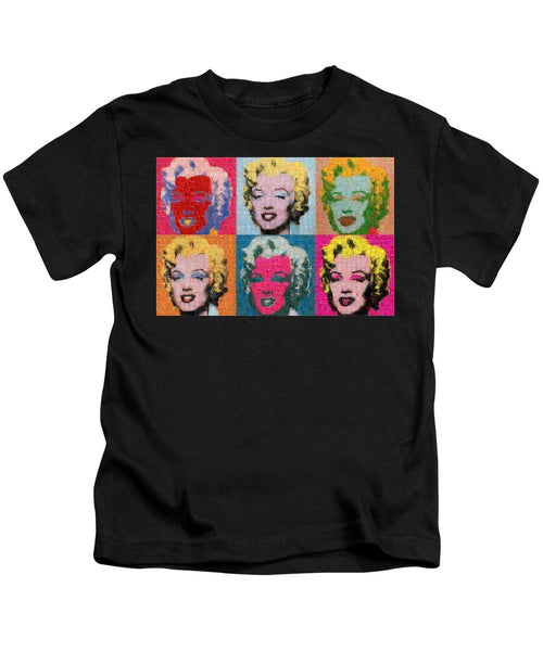 Tribute to Andy Warhol - 2 - Kids T-Shirt - ALEFBET - THE HEBREW LETTERS ART GALLERY