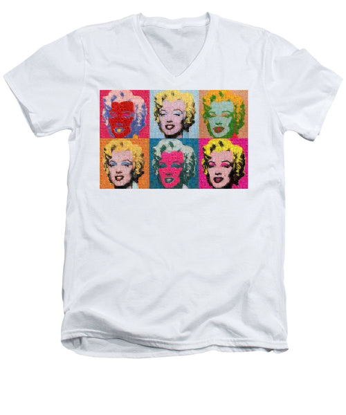 Tribute to Andy Warhol - 2 - Men's V-Neck T-Shirt - ALEFBET - THE HEBREW LETTERS ART GALLERY