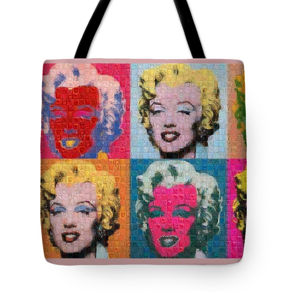 Tribute to Andy Warhol - 2 - Tote Bag - ALEFBET - THE HEBREW LETTERS ART GALLERY
