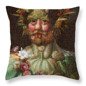 Tribute to Arcimboldo - 1 - Throw Pillow - ALEFBET - THE HEBREW LETTERS ART GALLERY