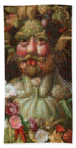 Tribute to Arcimboldo - 1 - Beach Towel - ALEFBET - THE HEBREW LETTERS ART GALLERY