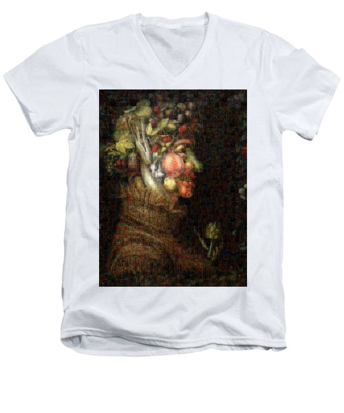 Tribute to Arcimboldo - 2 - Men's V-Neck T-Shirt - ALEFBET - THE HEBREW LETTERS ART GALLERY